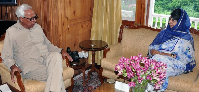 Mehbooba apprises Vohra on 'threat' to Article 35A