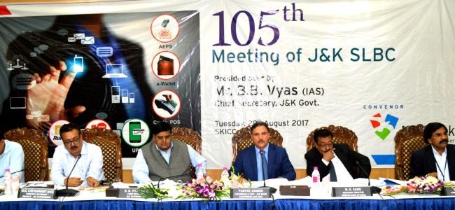 105th SLBC: J&K Bank disbursed Rs 3665.14 Cr, contributes 69 pc of total credit in the state
