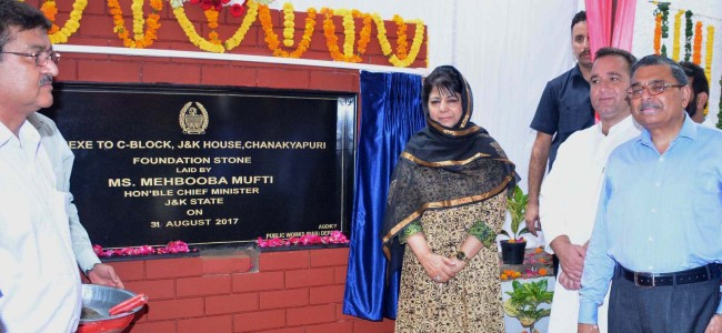 Mehbooba lays foundation for extra accommodation at JK House in Delhi