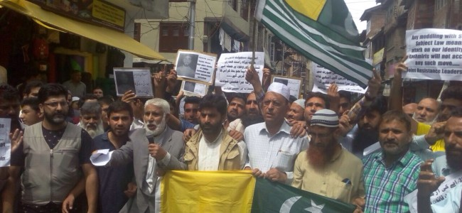 JKLF protests over attempts to scrap Article 35A and Handwara killing