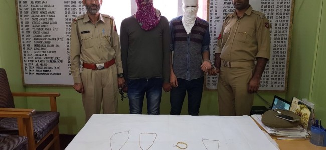2 burglars held after hot chase, gold items worth Rs 10 lakh recovered