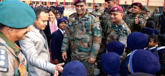 MS Dhoni in Srinagar, interacts with Army school students