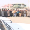 Sumo drivers, plying from Lal Chowk-Harwan, protest in Srinagar