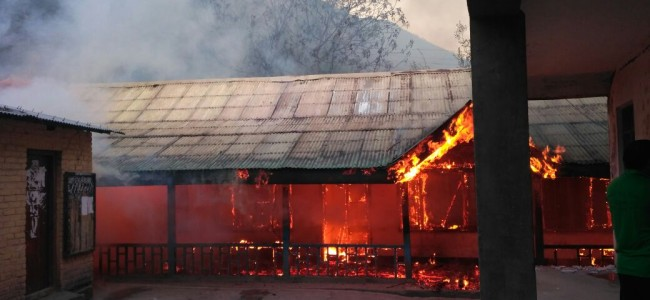 Fire engulfs school building in Salamabad Uri