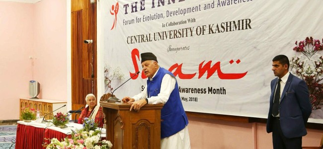 Dr Farooq Abdullah receives 'The Inner Call Falcon Award' for contribution in social service