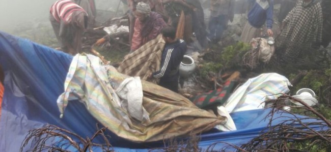 One dead several injured after landslide hit nomad tents at Thimdam Behak Anantnag.