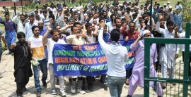 Jammu and Kashmir Contingent Paid Workers of Education Department on Tuesday held a protest in Press Enclave demanding regularisation of their services.