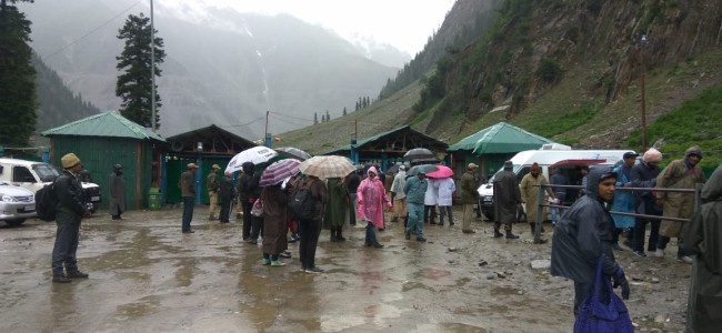 Amid incessant rains third batch of pilgrims for Amarnath yatra leave Jammu