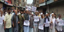 JKLF protests in Maisuma against civilian killings in Anantnag