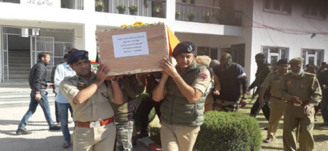 Police pays tributes to cop Killed in militant attack on police station Shopian