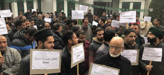 PDP protests against SAC's decision of declaring J&K Bank as PSU