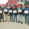 Social activists protest at press enclave, demand revocation of transfer order of Basant Rath