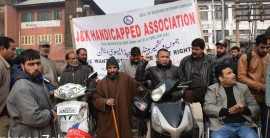 J&K Handicapped Association protest in Lal Chowk