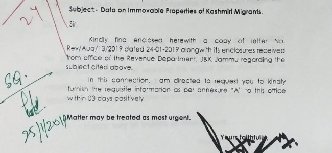 Displacement due to militancy: Following NSCS orders, Div Com Kashmir seeks data on immovable properties of Migrants