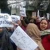 ICDS employees protest in Sopore against non-payment of salaries