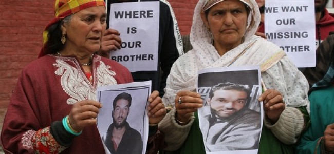 Pattan youth missing since March 22, family protests in Srinagar