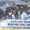 Demanding revocation of order suspending cross LOC trade, traders protest in Srinagar
