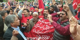 M Y Tarigami leads trade union's rally in Srinagar