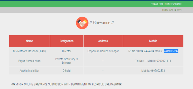 Floriculture deptt disobeys Govt orders, fails to update website since long, Dr Masooma still its Director