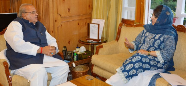 Mehbooba Mufti meets Governor