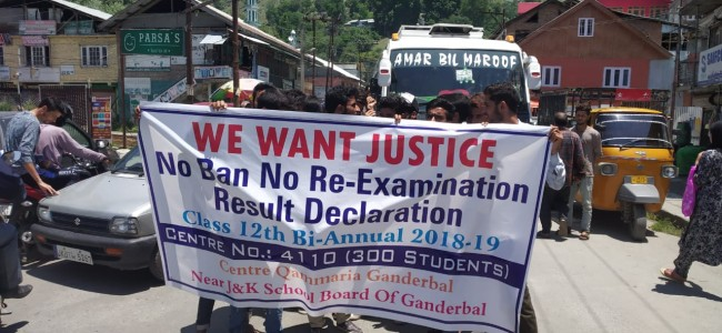 Students lock down JKBOSE's office in Ganderbal, demand their results of 12th class Bi-annual exams be declared soon