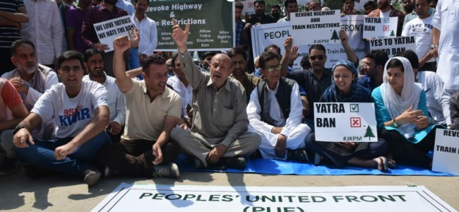 PUF protests against govt 5-hour daily ban on civilian traffic over Highway till Yatra ends