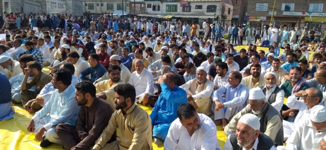 Traders, Fruit Growers, Pharmaceutical association others protest against Highway Ban in Sopore
