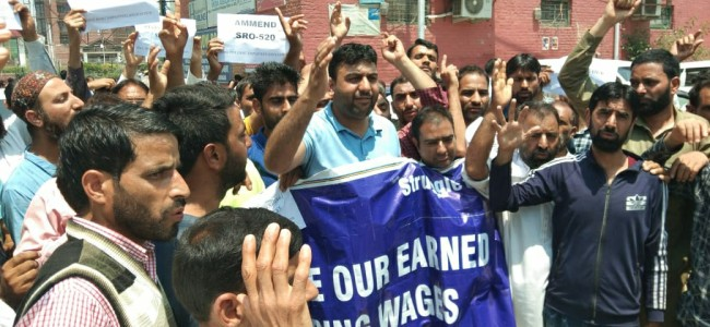 PHE Joint Employees Association held protest at press enclave demanding release of pending wages.