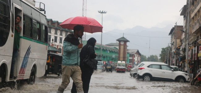 In Pics: Waterlogged Lal Chowk, drainage system cripples under rains