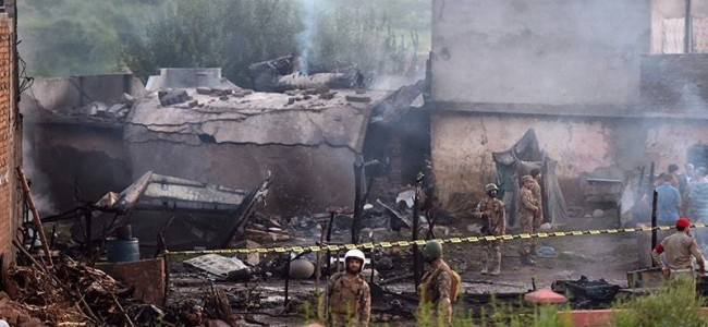 17 killed as Pakistani army plane crashes into residential area