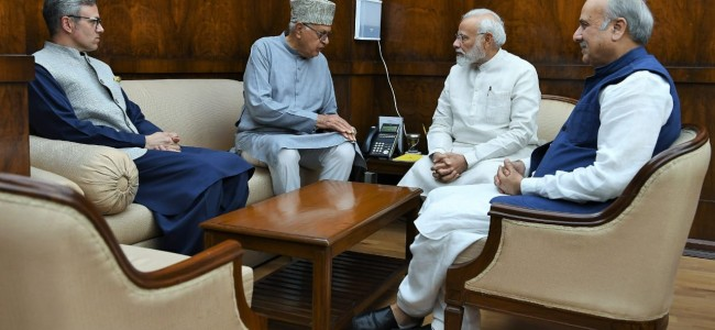 Dr Farooq led delegation meets PM Modi, ask not to take any step that would worsen Valley situation