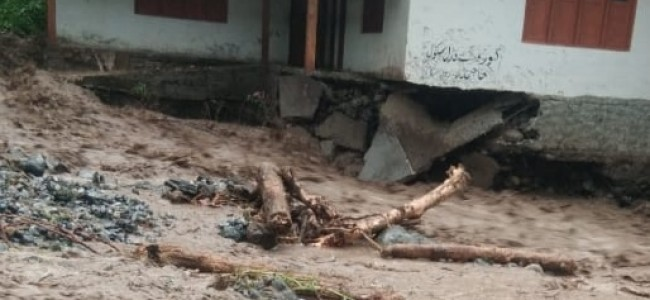 Cloudburst in Tral damages house, school, washes away road