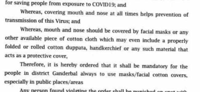 Wearing masks mandatory in Ganderbal, defaulters to be penalized